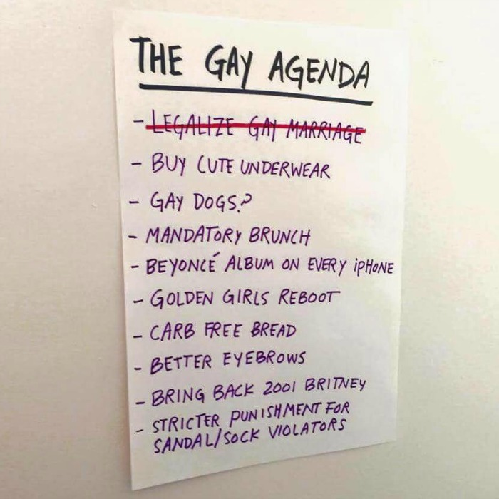 The Gay Agenda checklist